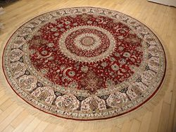 Stunning Silk Persian Area Rugs Traditional Design Red Tabriz 6×6 Round Shape Rug Red Circl ...