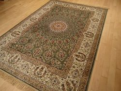 Silk Persian Green Area Rug 5×8 Rug Dining Room Rug Green Qum Traditional Rugs For Living R ...