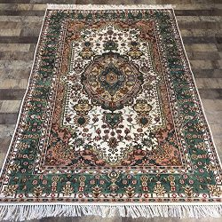 Yilong Carpet 4'x6′ Hand Knotted Tabriz Persian Silk Rug Oriental Classic Medallion  ...