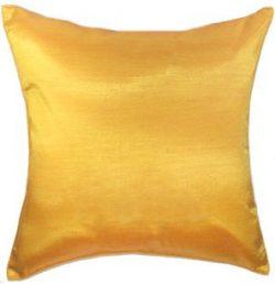 Artiwa Solid Yellow Gold Silk Sofa Decorative Throw Pillow Sham Cover 16×16″