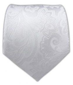 The Tie Bar 100% Woven Silk White Organic Paisley Tie