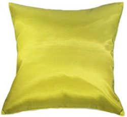 Artiwa® Throw Silk Decorative Cushion Cover for Sofa Couch Bed Large 24×24 in. Solid Lime Green