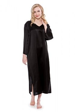 TexereSilk Women's Silk Nightgown 3/4 Sleeves (Black, Small/Medium) Casual Night Gown Cove ...