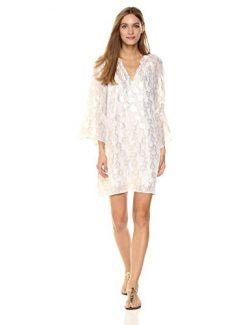 Lilly Pulitzer Women's Matilda Silk Tunic Dress, Resort White/Metallic Palm Tree Clip Jacq ...