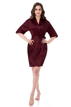 gusuqing Women's Pure Color Short Kimono Robe Sleeve Bridesmaid Robe Dark Burgundy 28 M