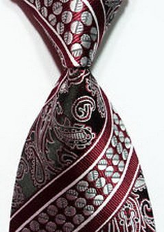 Scott Alania® New Classic Dark Red Silver 100% New Paisley Jacquard Woven Silk Men's Tie N ...