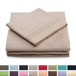 Twin Size Bed Sheets – Cream Luxury Sheet Set – Deep Pocket – Super Soft Hotel ...