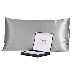 Fishers Finery Black Label Collection 100% Pure Mulberry Silk 30mm Pillowcase (Silver, Queen)