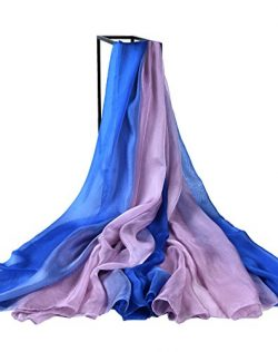 Designer Silk Scarves, Faurn Oversized Original Painting Silk Feel Wraps Shawls (Gradient Blue/P ...