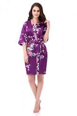 gusuqing Women's Printing Peacock Kimono Robe Short Sleeve Silk Bridal Robe Plum L