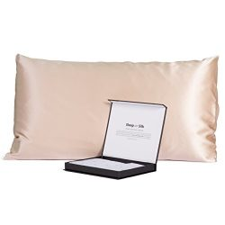 100% Pure 30MM Mulberry Silk Pillowcase, Our Most Luxurious Black Label Collection (Taupe, Queen)