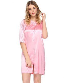 Ekouaer Women's Faux Silk and 3/4 Sleeve Nightgown Waltz Gown,Pink,Medium