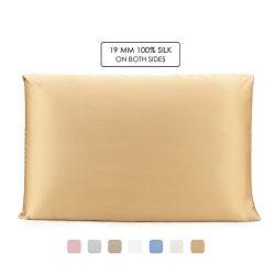 OleSilk 100% Mulbery Silk Pillowcase with Hidden Zipper for Hair and Skin Beauty,Both Sides 19mm ...