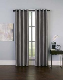 Curtainworks Malta Faux Silk Grommet Curtain Panel, 50 by 95″, Pewter
