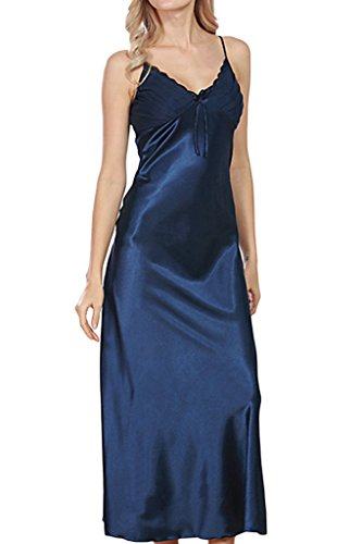 Asherbaby Women S Sexy Satin Long Nightgown Lace Slip