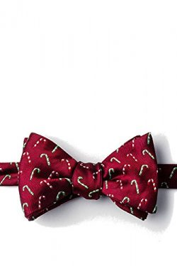Men's 100% Silk Christmas Holiday Candy Canes Bow Tie Neckwear (Red)