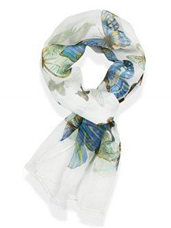 Hanson Womens 100% Silk Butterfly Pattern Scarf (Ivory)