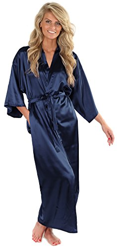 VEAMI Women's Kimono Robe-Galaxy Blue-Small, Long