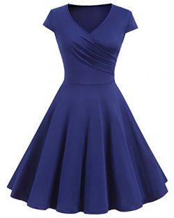 Bbonlinedress Women's Retro Vintage Cap Sleeves V-Neck Casual Dress Royal Blue M