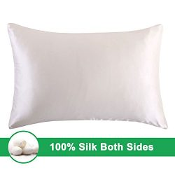OOSILK 100% Mulberry Silk Pillow Shams Cover with Hidden Zipper Standard 20×26 Inch,Ivory, 1pc