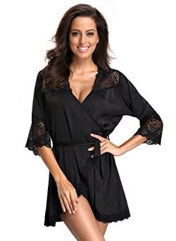 FanShou Women Short Silk Kimono Robe Lace Trim Satin Sleepwear Bridesmaids (Small, Black)