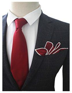 JEMYGINS 3.5″ Burgundy Necktie Tie and Pocket Square Set for Men (17)