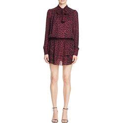 Parker Womens Marybeth Silk Animal Print Mini Dress Purple XS