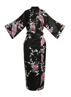 Womens Robe Silk (S, Long Black)