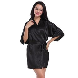 SexyTown Women's Short Satin Lounge Robes Bridesmaids Charmeuse Lingerie Sleepwear Medium  ...