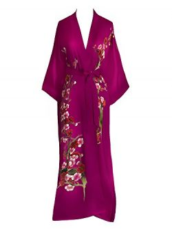 Old Shanghai Women's Silk Kimono Long Robe – Handpainted (Cherry Blossom Fuchsia)