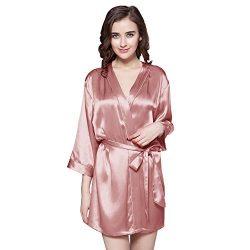 Find Dress Women's Solid Satin Robe Bridemaids Robes Sliky Kimomo 10186BlushS