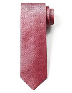 "Origin Ties 100% Silk Textured Solid Color Men's Skinny Tie 3"" Necktie Coral"