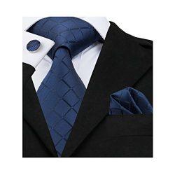 Barry.Wang Solid Blue Ties Silk Tie Handkerchief Cufflinks Set Business Necktie
