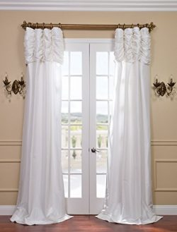 Half Price Drapes PTCH-120-96-RU Ruched Faux Silk Taffeta Curtain, Eggshell