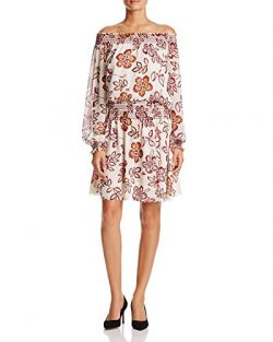 Tory Burch Indie Smocked Off-The-Shoulder Floral Silk Dress, New Ivory Hopewell, 12