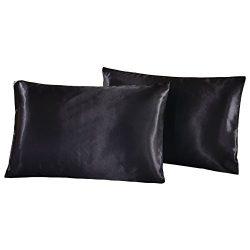 WarmGo 100% Luxury Silk Satin Pillowcase 2pc/Set,Good for Skin and Hair King Size( Black, 20&#82 ...
