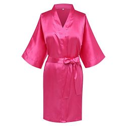 Goodmansam Women's Simplicity Stlye Bridesmaid Wedding Party Kimono Robes, Short,Hot Pink4 ...