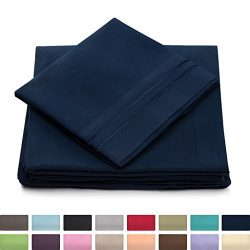 Twin Size Bed Sheets – Navy Blue Luxury Sheet Set – Deep Pocket – Super Soft H ...