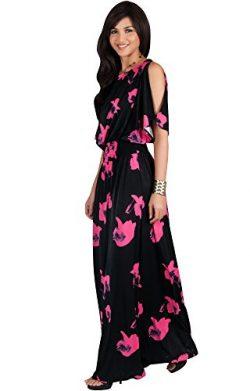 KOH KOH Womens Long Short Sleeve Floral Print Summer Sexy Casual Sundress Boho Bohemian Split Fl ...