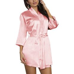 Find Dress Women's Solid Satin Robe Bridemaids Robes Sliky Kimomo 10186PinkS