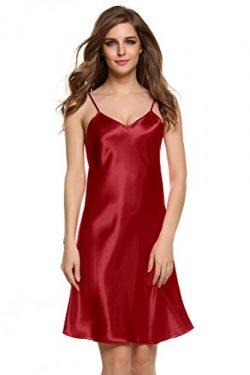 Goodfans Women's Sexy V Neck Spaghetti Strap Silk Slip Dress Deep Red M