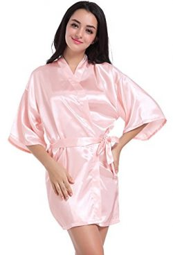 Angeltar Women's Satin Robe Short Kimono Robes Satin Lounge Bridesmaids Lingerie Sleepwear ...
