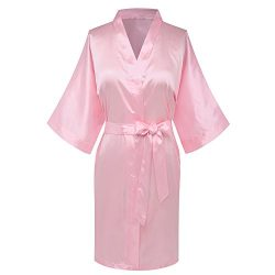 Goodmansam Women's Simplicity Stlye Bridesmaid Wedding Party Kimono Robes, Short,Blush Pin ...