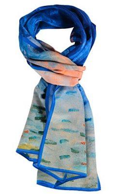 Salutto Women 100% Silk Scarves Monet Impression Sunrise Painted Scarf (6)