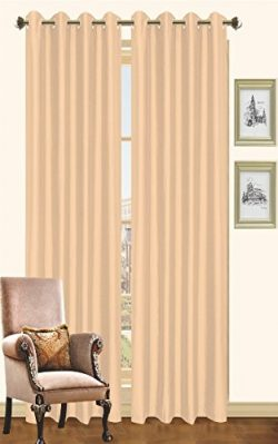 Kashi Home Holly Collection Faux Silk Window Panel / Curtain / Drape 57″x 84″ Lightw ...