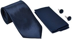 Kingsquare Solid Color Men's Tie, Pocket Square, and Cufflinks matching set (Dark Navy Blue)