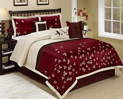 7 Piece Vienna Embroideried Comforter Set Queen King CalKing Size (Queen, Burgundy)