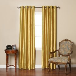 Best Home Fashion Gold Dupioni Faux Silk Grommet Top Blackout Curtain 84″ L – 1 Pair