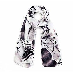 STORY OF SHANGHAI Womens 100% Silk Scarf Luxury Satin Floral Scarf Long Shawl Wraps