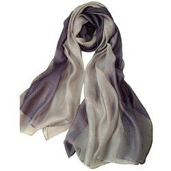 Unilove Summer Silk Scarf Gradient Color Long Lightweight Sunscreen Shawls for Women (Light Gray)